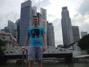 On the river tour, with the Singaporean CBD in the background.