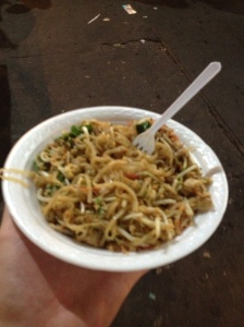 Pad Thai as a drunk meal is a bit of a novelty for me, but there were dozens of carts serving them along Khao San.