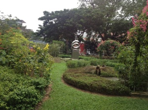 One of the many small gardens that break up the mass of buildings along Orchard Road.