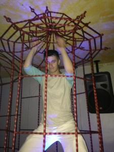 Dancing in a cage in a Bangkok club - don't ask me which one, because I can't for the life of me remember.