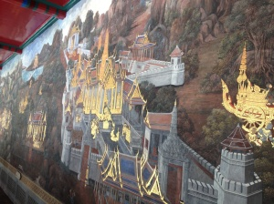 The beautiful hand painted murals that line the outer perimeter of the temple compound.