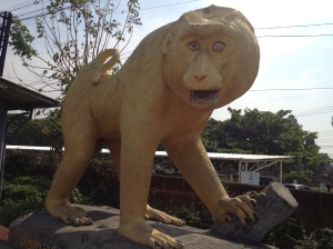 Statue at Lop Buri station - one of the only clues that suggest the town does actually have the population of monkeys that reside there.