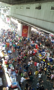 Silom Road packed with people celebrating Songkran.