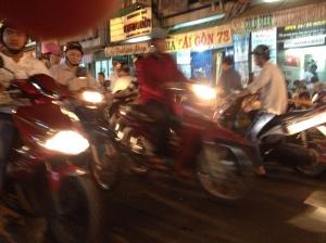 Motorbikes in close proximity.