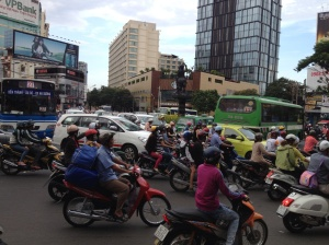 Motorbikes maintain the majority in the minor metropolis of Saigon.