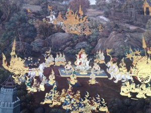 The murals depict the story from an epic poem in Thai mythology.
