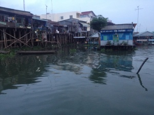 The town of Chau Doc in the grey light of dawn.
