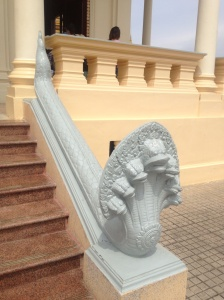 Nagas are mythical serpents that frequently appear in this holy South East Asian architecture.