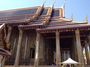 View from outside the temple of the Emerald Buddha.