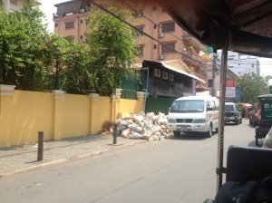 View of the street from my tuk tuk to the hostel.