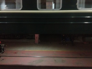 Another carriage in the process of having bogies changed, as seen from our carriage.