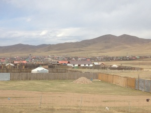 Mongolian countryside as we approach Ulaanbaatar.