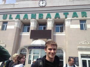 At Ulaanbaatar station, after journeying across the Trans-Mongolian Railway.