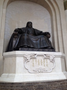 Statue of Chinggis Khan in front of Parliament House.