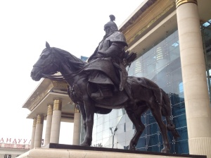 Statue of a horseback archer the Mongolian Empire was infamous for - this sculpture also depicts Chinggis Khan's son.