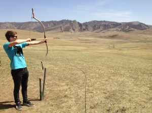 Trying out my archery skills - there's a reason there's no photos of the target...