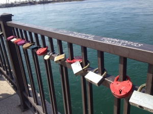 Padlocks on the riverside railing in Irkutsk.