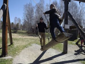 Kaylah and I playing on the huge wooden swings in the open air museum.