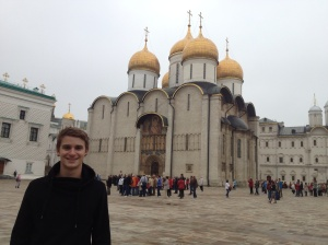Outside the Assumtpion Cathedral in the Kremlin.