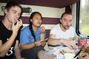 Kaylah, Tim and myself gorging on the hot chicken.