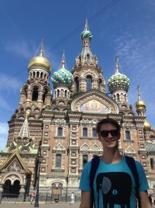 Outside the Church on the Spilled Blood of the Saviour, on a less overcast day.