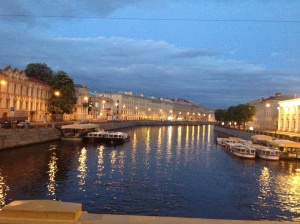 The St Petersburg canals in the twilight as we made our way home from the Blue Oyster.