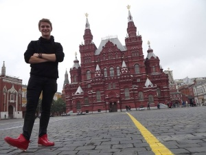 This photo was taken the next day on a short trip back to Red Square - showing off my shiny red gum boots in front of the State History Museum