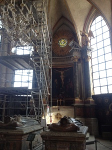 The interior of Riddarholmen church - complete with token scaffolding.