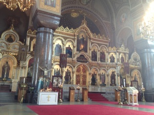 Inside the orthodox cathedral.