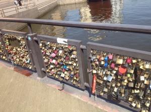 Helsinki's padlock bridge is far smaller than in Irkutsk, but there's no shortage of padlocks.