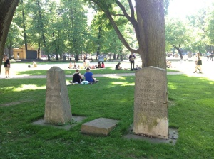 Despite the reputation for being haunted, Finnish people don't waste a single moment of daylight, and this very central grassy area was full of living people soaking up the sun.