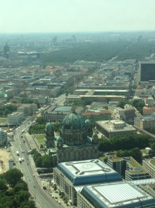 View of Berlin at the top of TV Tower, from the Tiergarten to Museums Island - essentially, what I'd just walked.