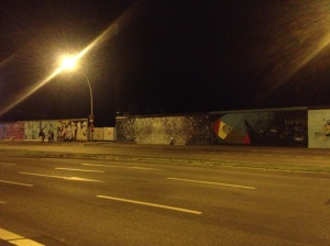 The Berlin Wall during our late night trek out east.