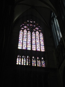 Stained glass window inside the cathedral.