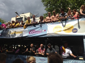 One of the numerous party bus floats.