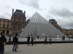 The iconic pyramid structure which serves as an entrance to the Louvre.
