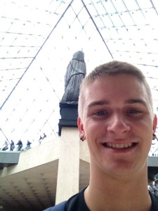 Sneaky selfie under the pyramid.