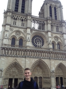 Outside the Notre Dame Cathedral.