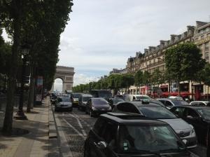 The Champs-Élysées is a busy street.
