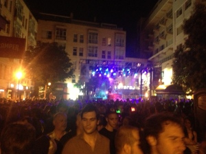 The street party raging in the middle of Chueca.