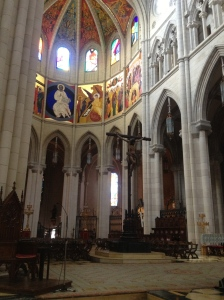 Inside the great Catholic cathedral.