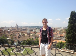 View of Rome from the top of Pincio Hill.