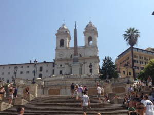 The Spanish Steps and the church at the top, as seen from Piazza di Spagna.