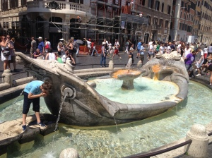 The Barcaccia fountain at Piazza di Spagna.