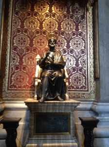 The statue of St Peter with his worn worn down foot.