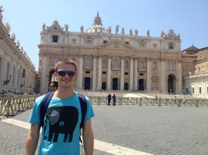 Outside St Peter's Basilica.