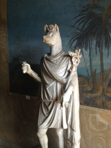 The statue of Hermanubis, a god who was a combination of Hermes in Greek mythology and Anubis in Egyptian mythology.