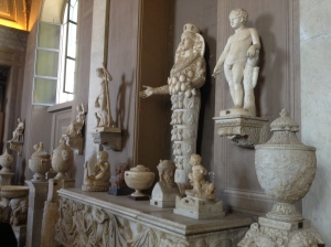 A collection of various sculptures on display.