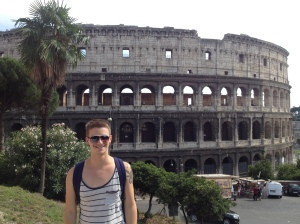 Posing with the Colosseum from where Stefan and I had our long afternoon conversation.