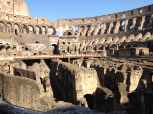 Inside the arena of the mighty Colosseum.